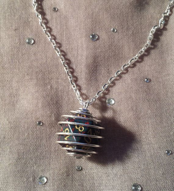 Wire Wrapped 20 Sided Dice Necklace by ShadowRevolutions on Etsy