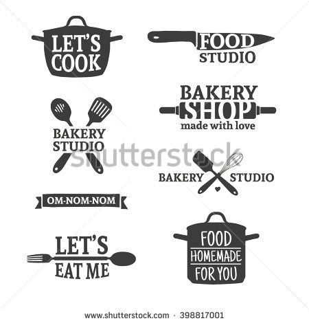 ... labels and logo elements, retro symbols for bakery shop, cooking club,  food studio or home cooking. Template logo with silhouette cutlery. Vector. 6d457a6e381b