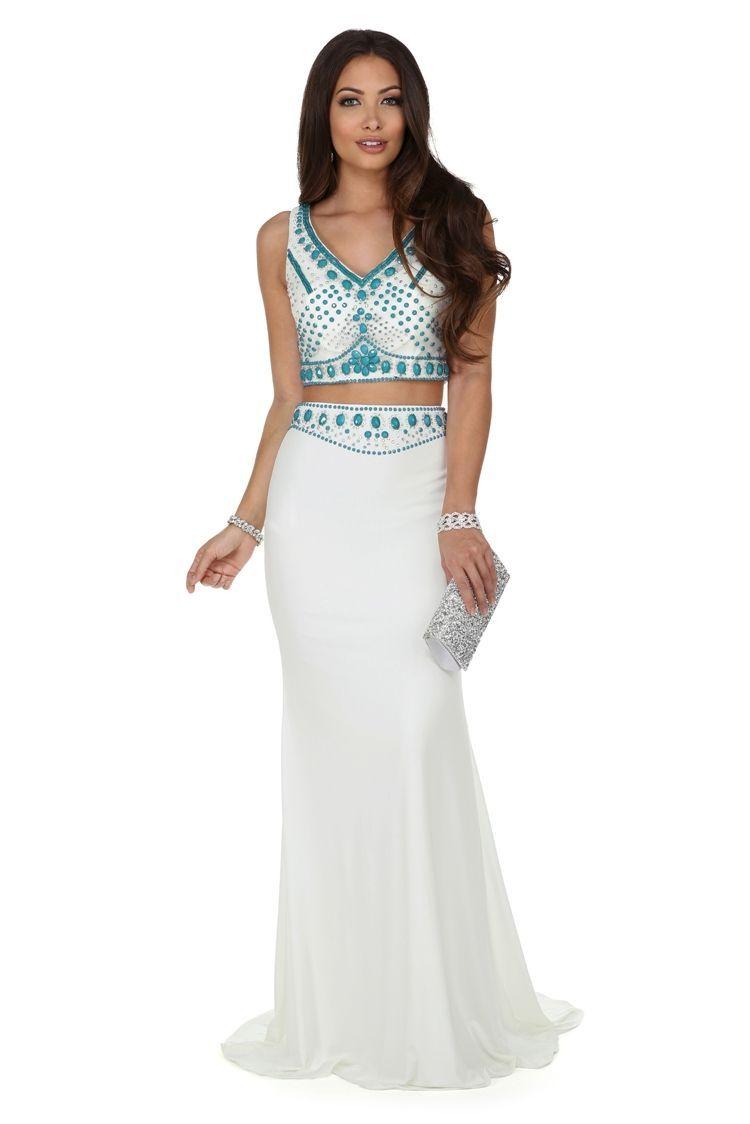 Corine white two piece prom dress windsorcloud prom dresses