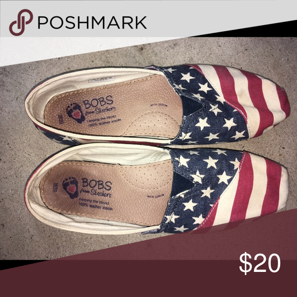 Bobs slip in American flag Used and bottoms show but top in good condition bobs Shoes Sneakers