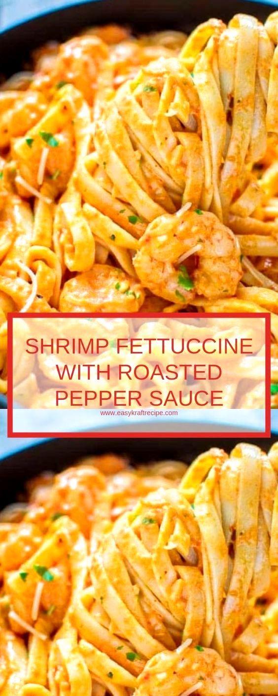 Shrimp Fettuccine with Roasted Pepper Sauce #shrimpfettuccine