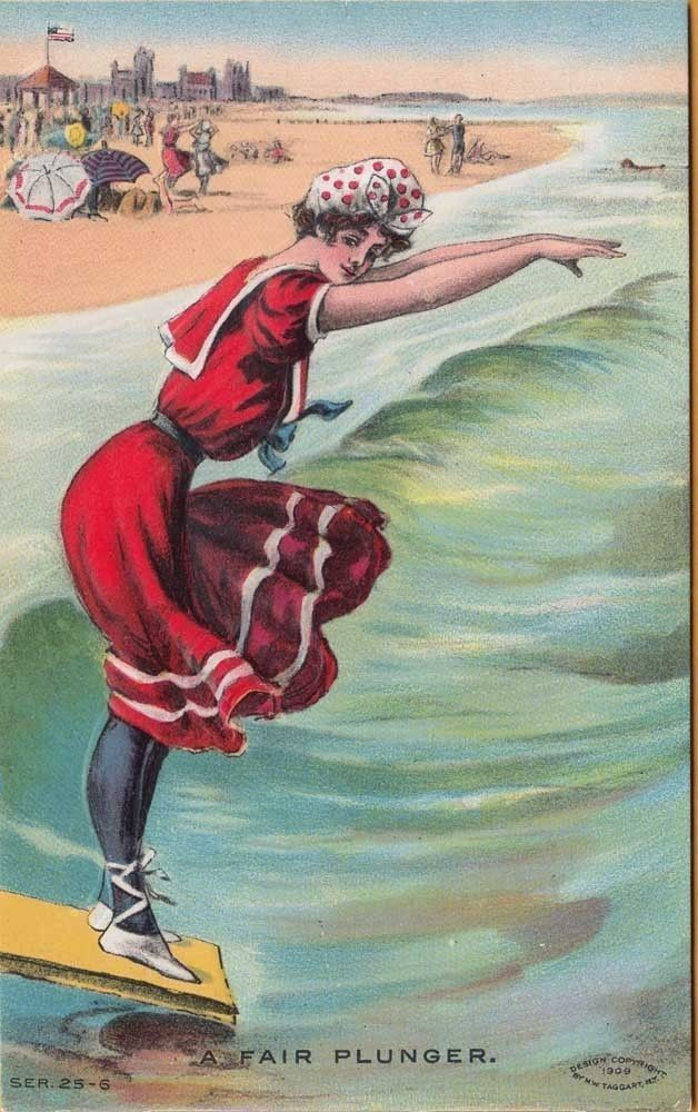 GIRL in OLD FASHION BATHING SUIT ~ A Fair Plunger ~ c1915