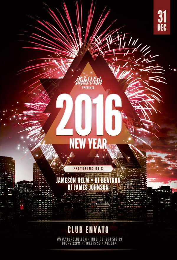 2016 New Year Flyer Template (Buy Psd File - $9) | Flyer Design