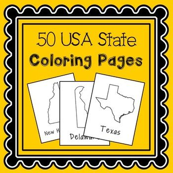 USA States Coloring Pages, No Prep Activity, Great for Crafts and ...