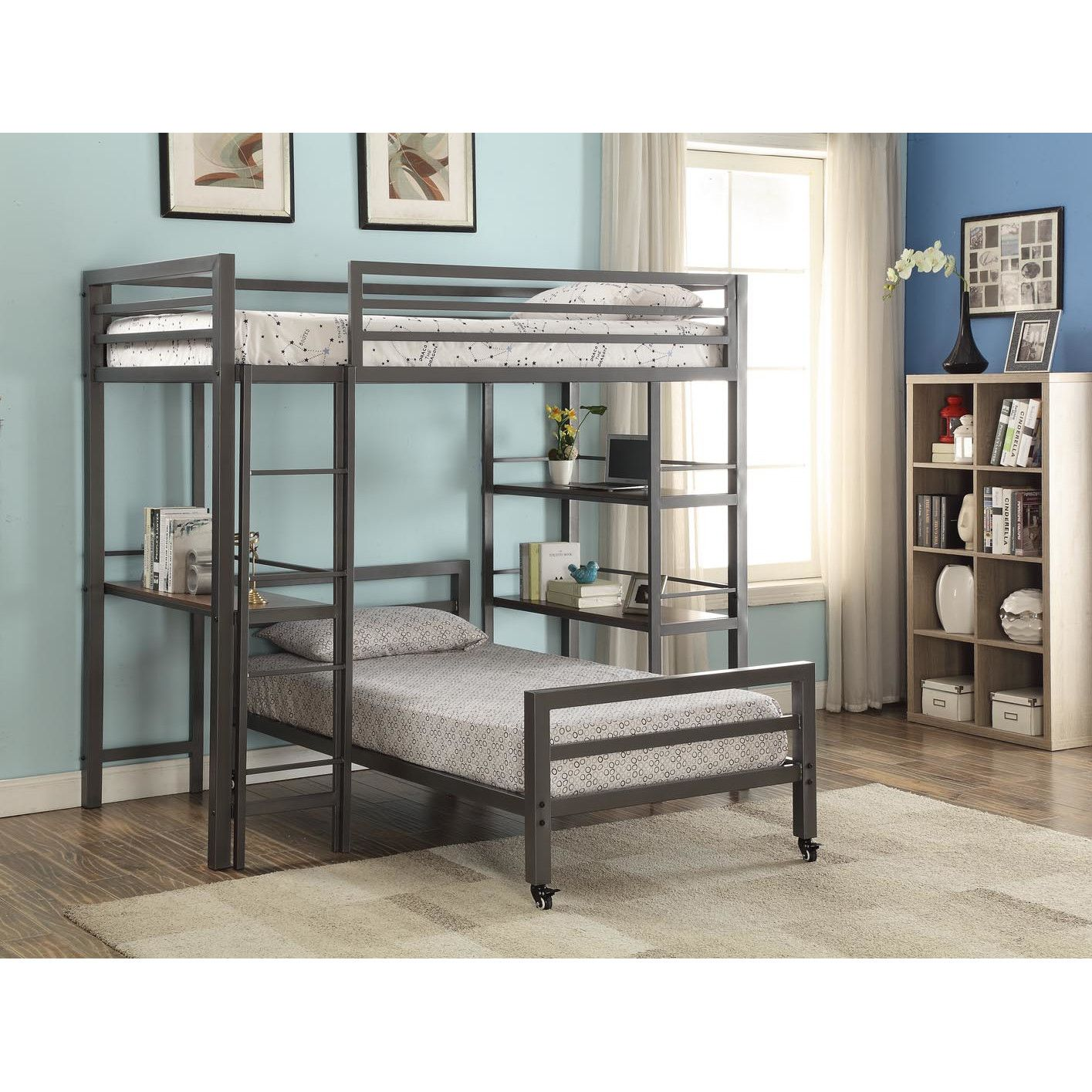 Gray loft bed with desk  Viv  Rae Diann Twin Loft Bed with Bookshelves and Writing Desk