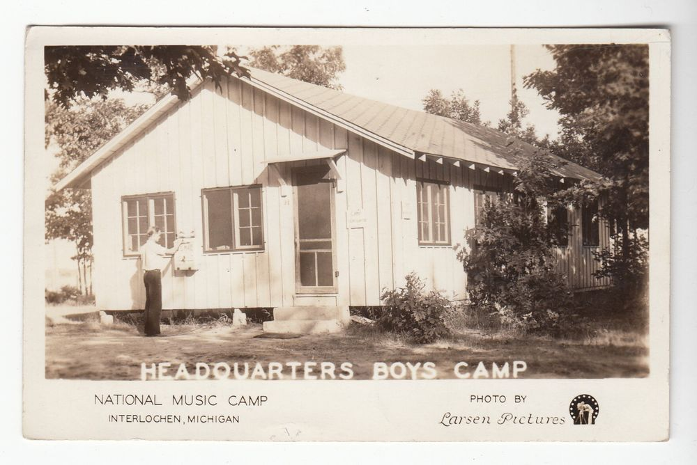 1934 Real Photo Postcard National Music Camp Boys Camp HQ, Interlochen, Michigan