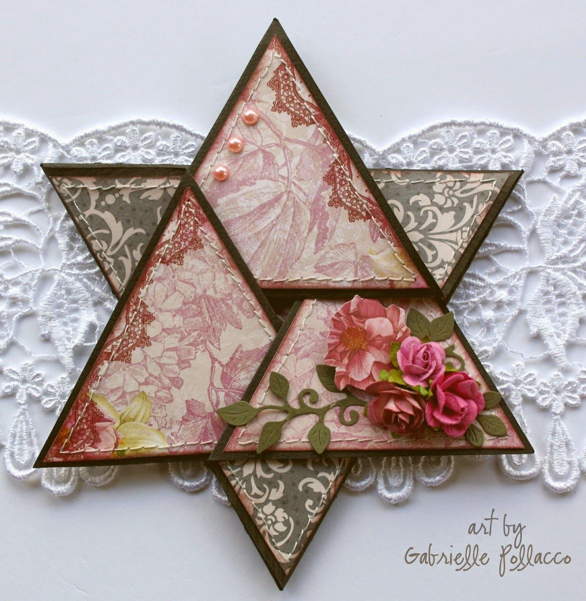 star fold card by gabrielle pollacco     tutorial and template with complete instruction in her