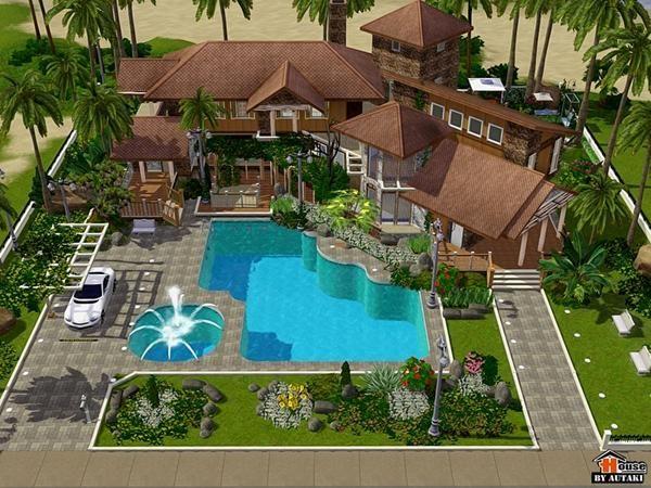 Autaki S Rin Villa Maison Sims Sims 4 Maison Maison De Luxe