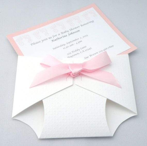 Textured Diaper Invitation For Baby Shower Or Announcement Boy Or