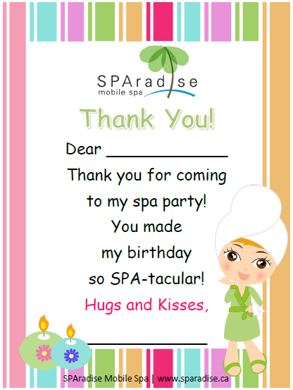 Free Printable Spa Party Thank You Card By Sparadise Mobile