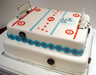 TwoTier Hockey Rink Cake Celebration Cakes Hockey cakes Hockey