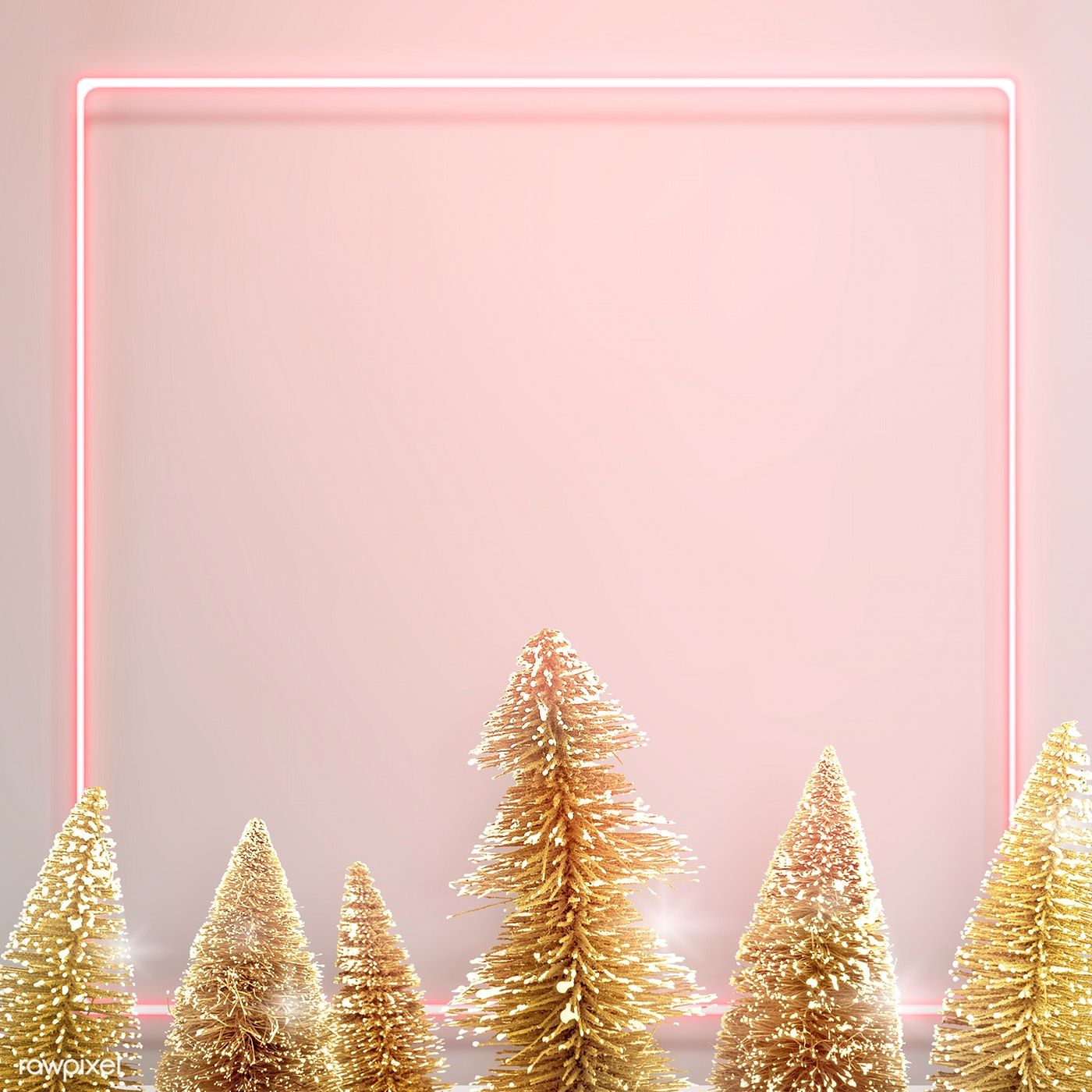 Download Premium Psd Of Pink Neon Frame With Gold Christmas Trees Gold Christmas Tree Christmas Wallpaper Gold Christmas