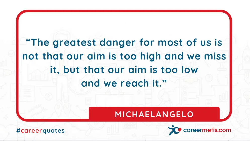 """The greatest danger for most of us is not that our aim is too high and we miss it, but that our aim is too low and we reach it."" MICHAELANGELO  careerquotes dailyquotes #quoteoftheday #motivation #success #inspiration #quotes #business #entrepreneur #business #careers #careeradvice #goals #mindset #successquotes #successful #success"