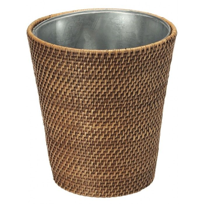 Round Rattan Waste Basket Honey Brown With Tin Insert Waste Basket Trash And Recycling Bin Recycle Trash