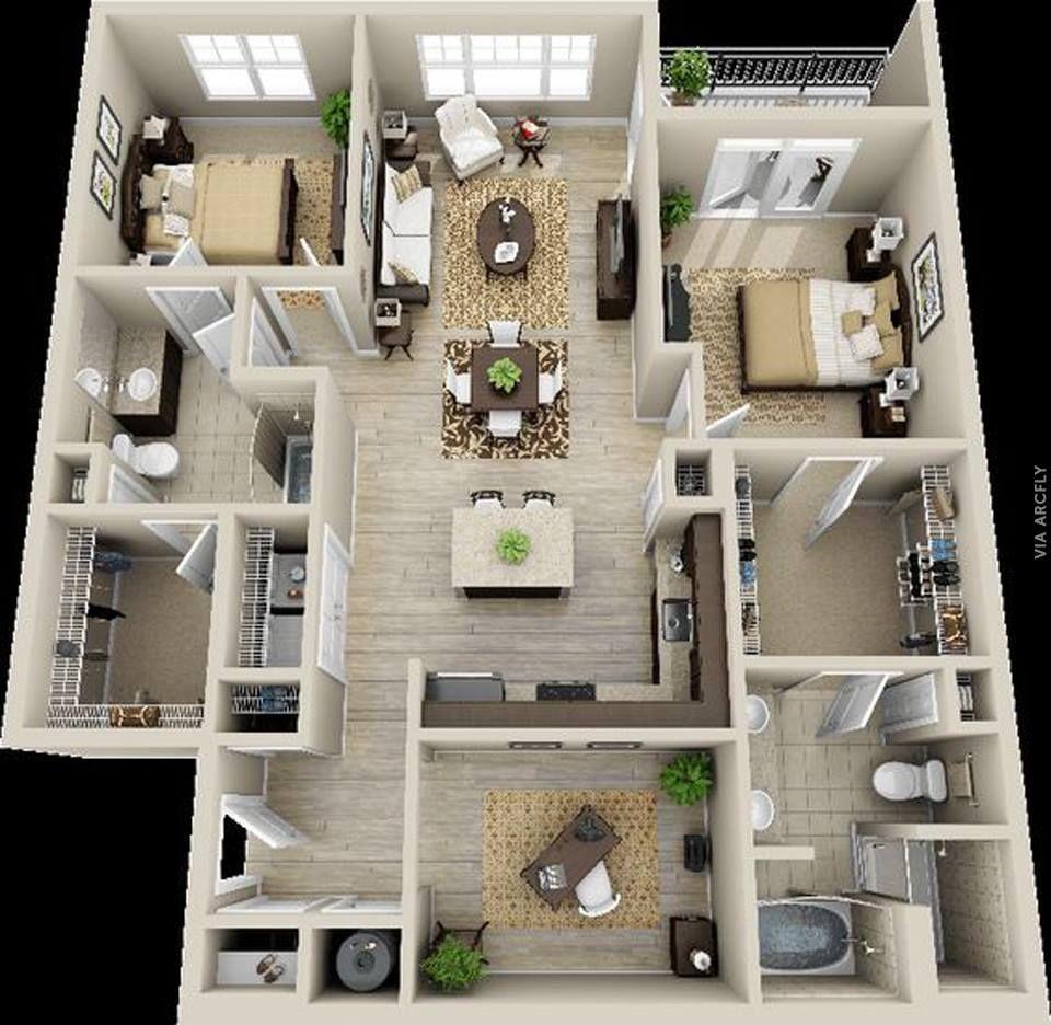 Dekorasi Rumah Minimalist 50 Denah Rumah Minimalis 3d 3 Kamar Tidur 2 Lantai Dan 2 Kamar Tidur Https Www Tok Denah Rumah Tata Letak Rumah Denah Rumah 3d