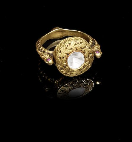 A diamond set gold Ring India probably 19th Century