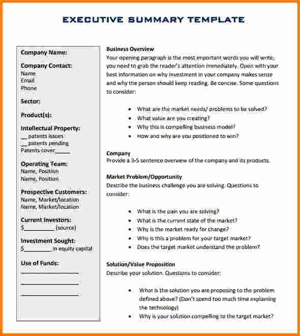 Executive Summary Template For Report In 2020