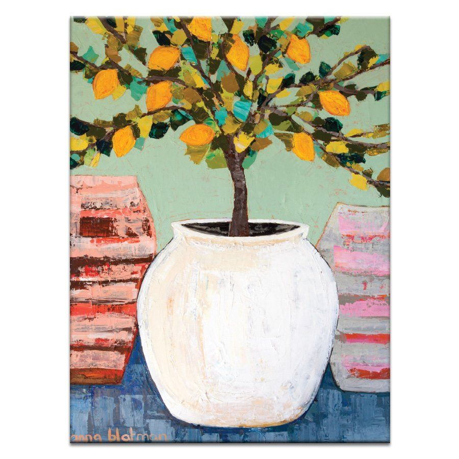 Color art printing anchorage - Artist Lane Lemon Tree In Pot By Anna Blatman Framed Painting Print On Wrapped Canvas