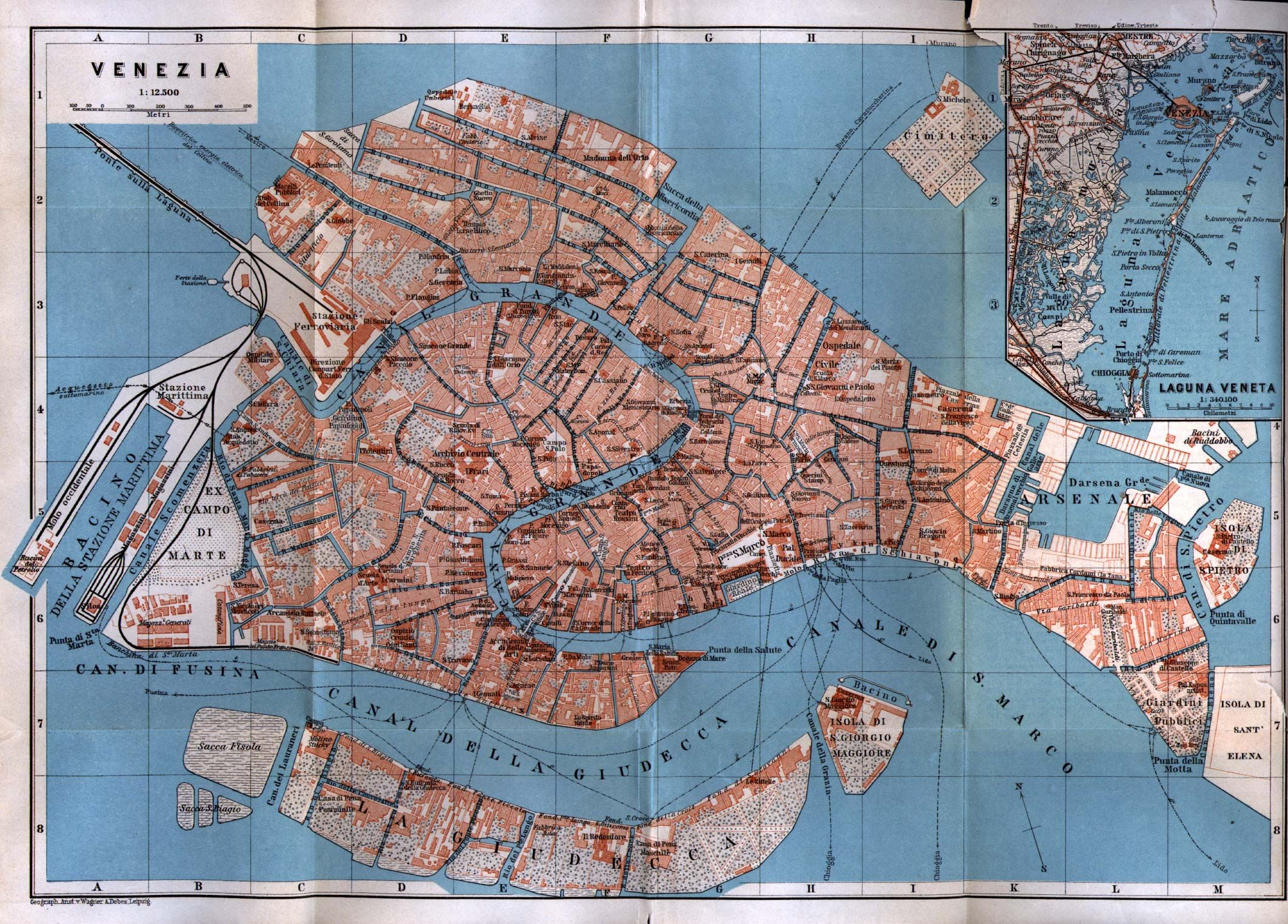 Map Of Italy Venice.Venezia Venice Map Italy 1913 From Baedeker S Northern Italy
