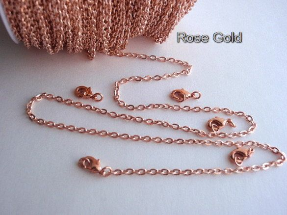 20 Ft Rose Gold Chain 18 Matching Lobster Claws Very Small Cross