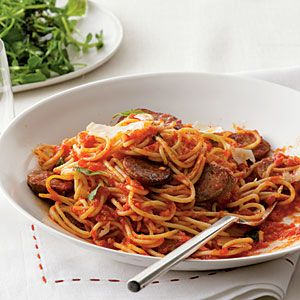 Spaghetti with Sausage and Simple Tomato Sauce   MyRecipes.com
