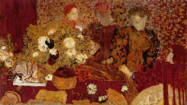 La table de toilette, dans les fleurs Vuillard