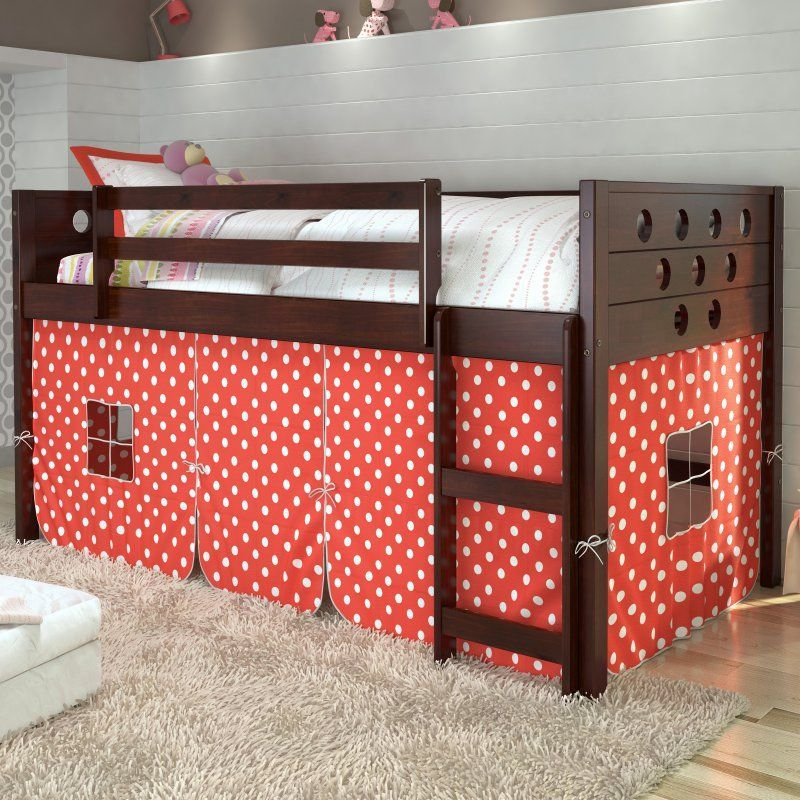This Blue & White Tent Loft Bed & Slide by Donco Kids is
