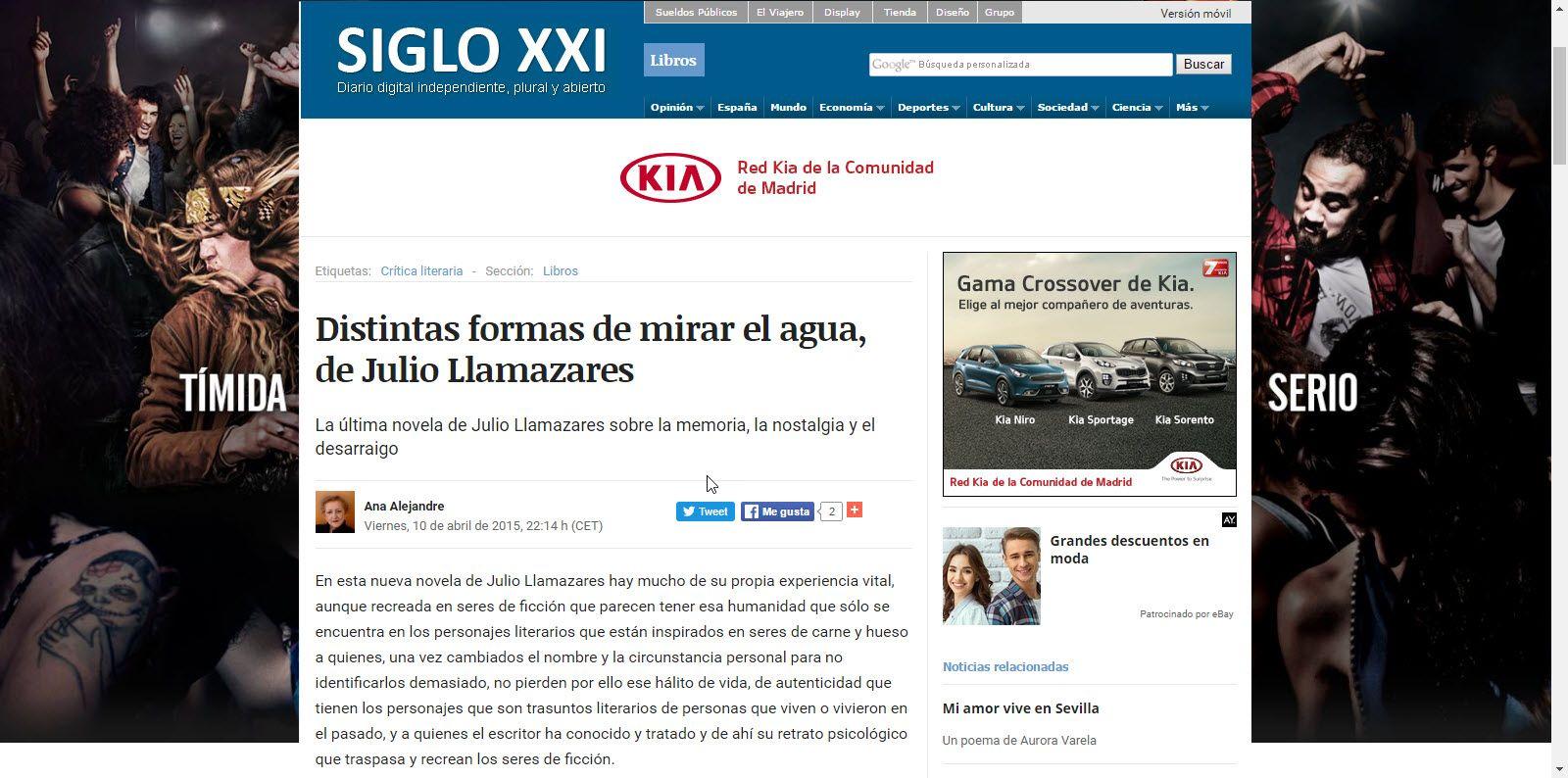"""CRÍTICA DE LA NOVELA """"DISTINTAS FORMAS DE MIRAR EL AGUA"""",DE JULIO LLAMAZARES"""