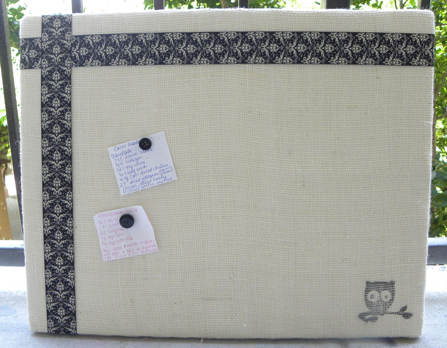 Burlap Bulletin Board jewelry organizer Memo board 3700 via