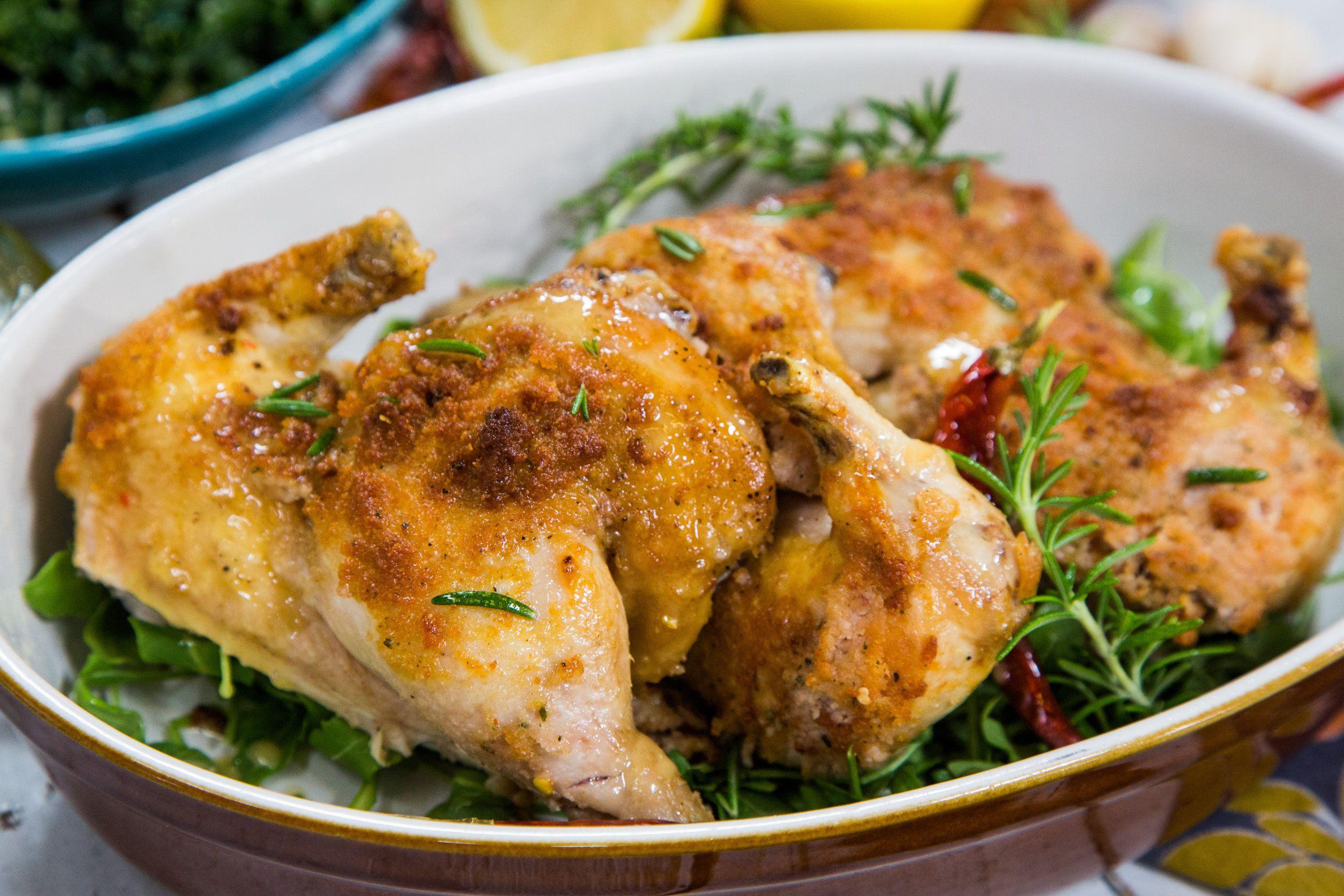 Cornish game hens with pancetta rosemary crust cornish