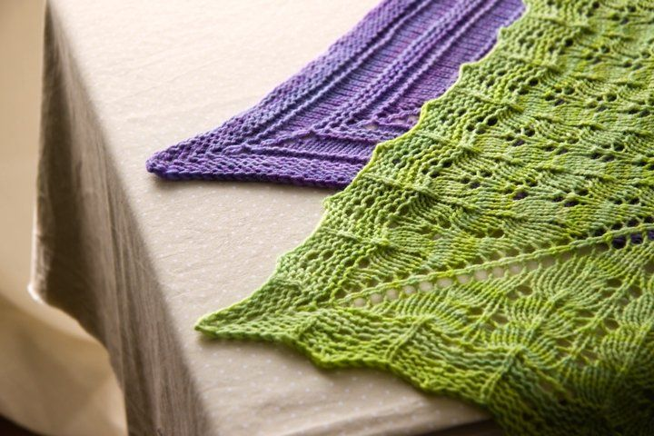 free knitting pattern for two top down triangular shawls ...