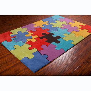 Allie Handmade Colorful Jigsaw Puzzle Wool Rug 5 X