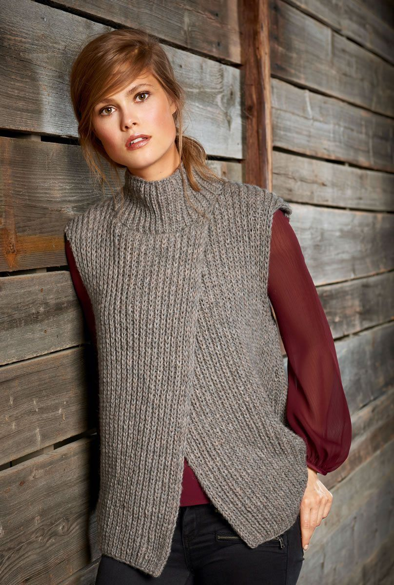 Модный вязанный жилет 2018 - [100+ лучших новинок сезона на фото]   Серый  жилет, Модели, Винтажные свитера