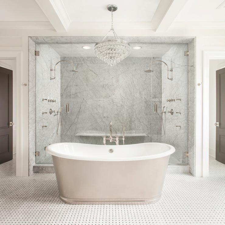 Stunning Bathroom Boasts A Robert Abbey Bling Chandelier Hanging