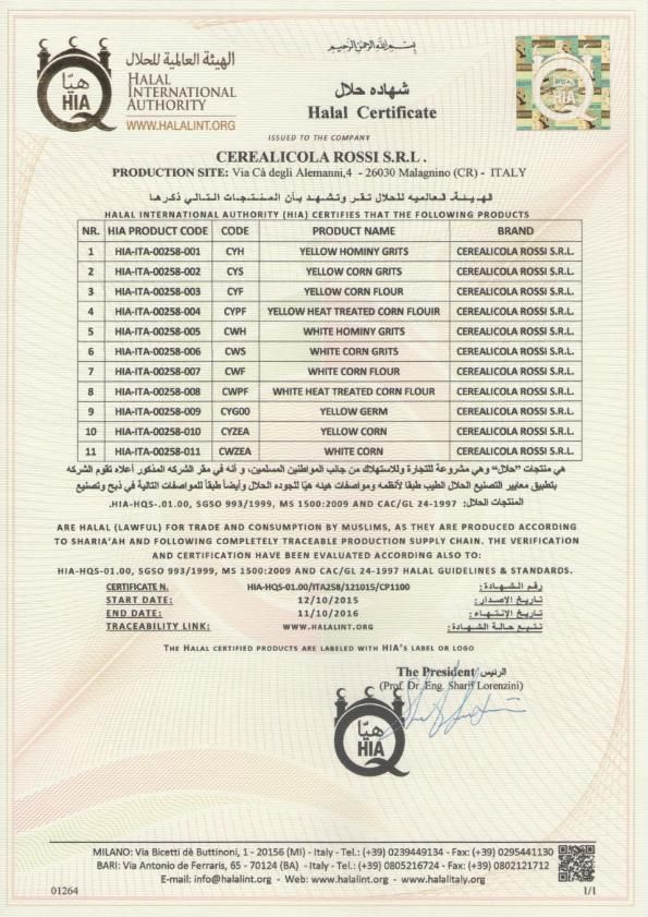 Halal Certification of Cerealicola Rossi S.r.l. by Halal ...