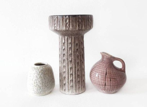 Sale 3 Vintage German Vases In Brown Beige Yellow And Old Pink By