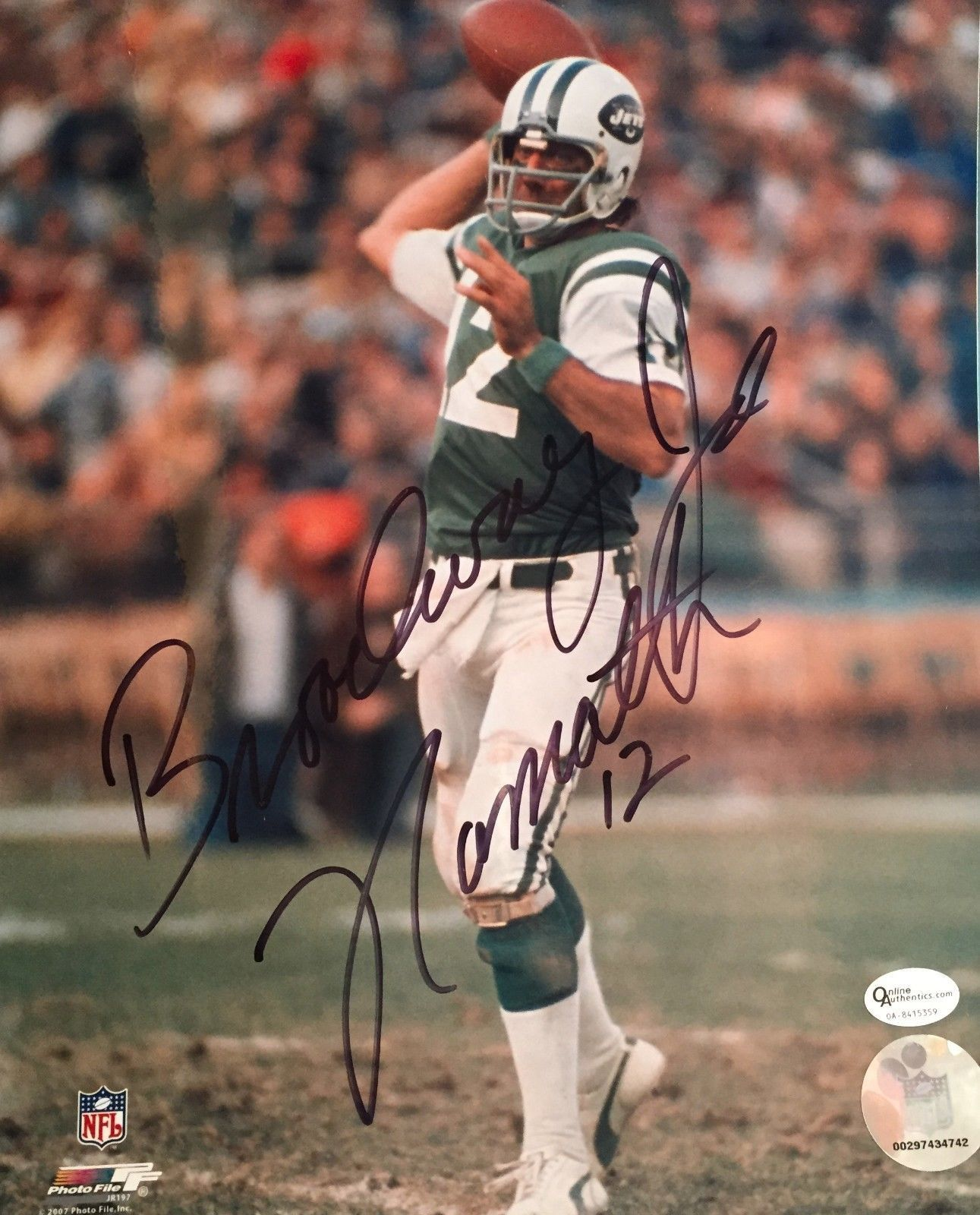 "JOE NAMATH SIGNED 8X10 INSCRIBED ""BROADWAY"" COA ONLINE AUTHENTICS AUTOGRAPH JETS"