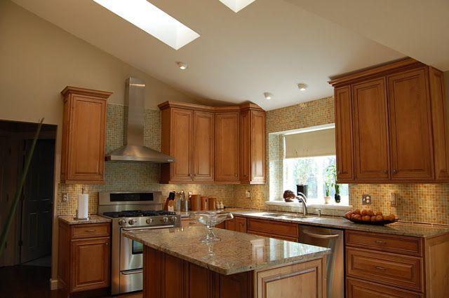 Furniture Elegant Kitchen Furnishing With Luxury Blonde Cabinet Sloping Ceiling Design Kitchen Wo Kitchen Design Custom Kitchen Cabinets Best Kitchen Cabinets