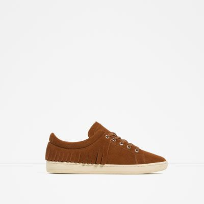 ZARA - WOMAN - LEATHER FRINGED PLIMSOLLS