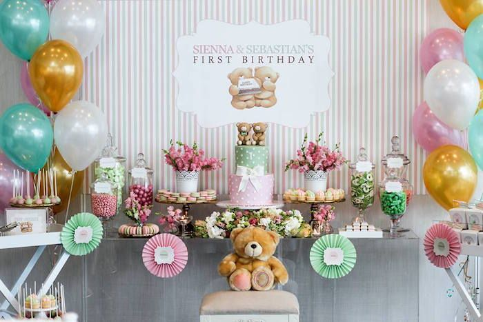 Dessert Table From A Teddy Bear Forever Friends Birthday Party Via Karas Ideas KarasPartyIdeas 4