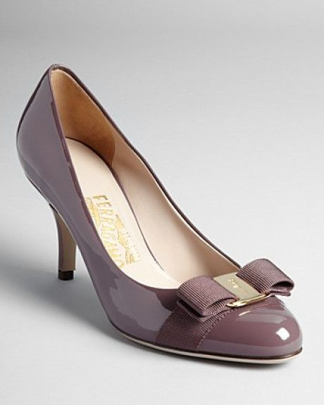 Ferragamo - Purple Pumps Carla Bow Kitten Heel - Lyst
