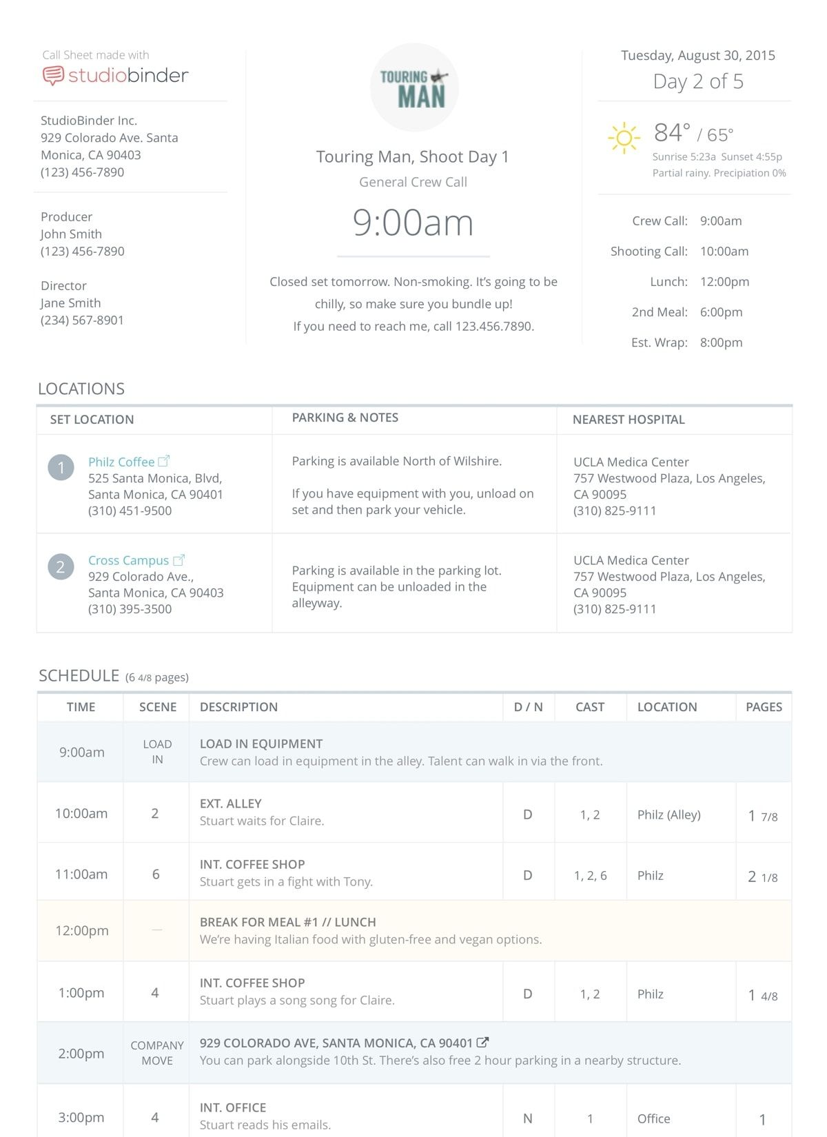 Online Call Sheet Templates For Film Amp Tv Production