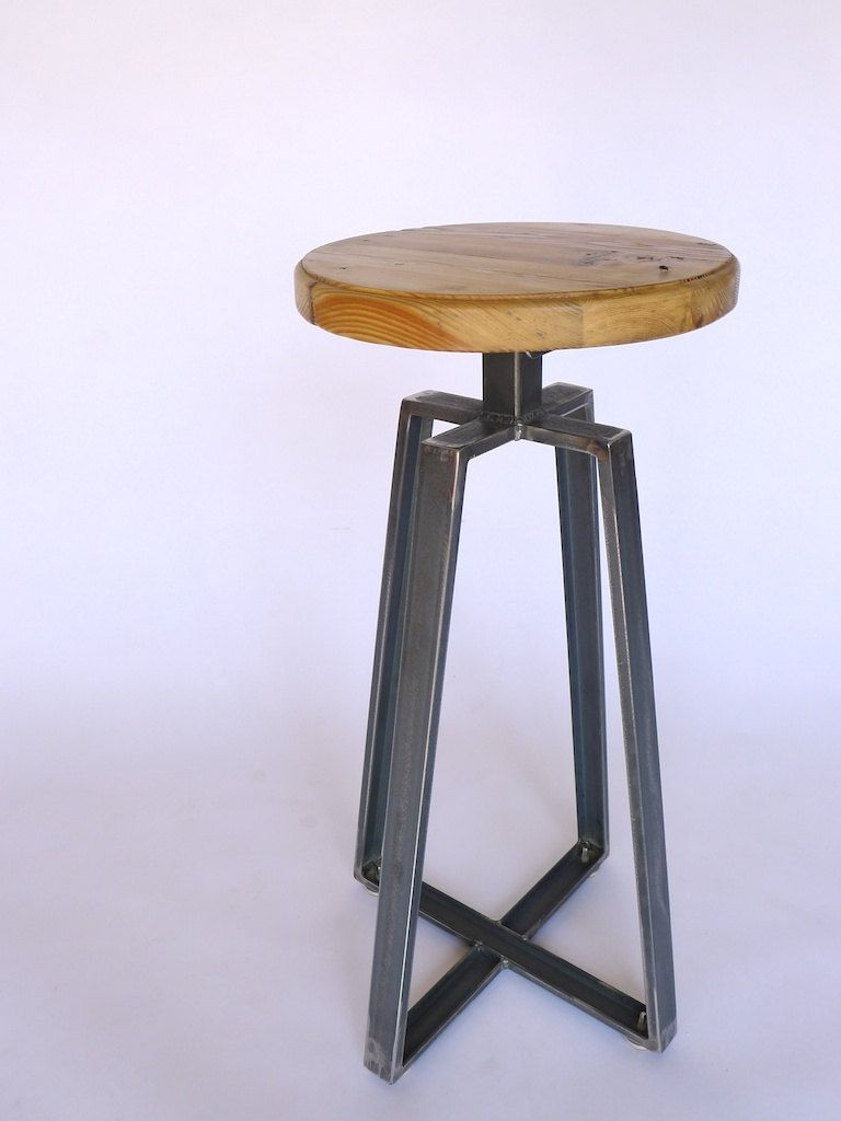 Industrial Channel Iron Stool Welded Frame And Reclaimed