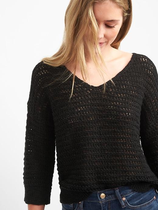 a991241060 Gap Womens Crochet Pullover V-Neck Sweater True Black