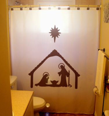 Christmas SHOWER CURTAIN Nativity Scene Birth Of Jesus