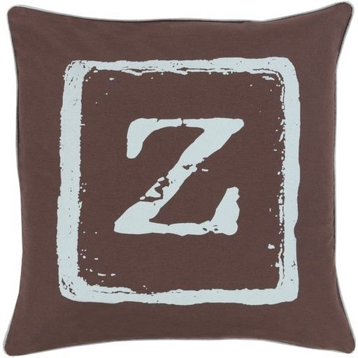 "20"" Espresso Brown and Gray Z Big Kid Blocks Decorative Throw Pillow"