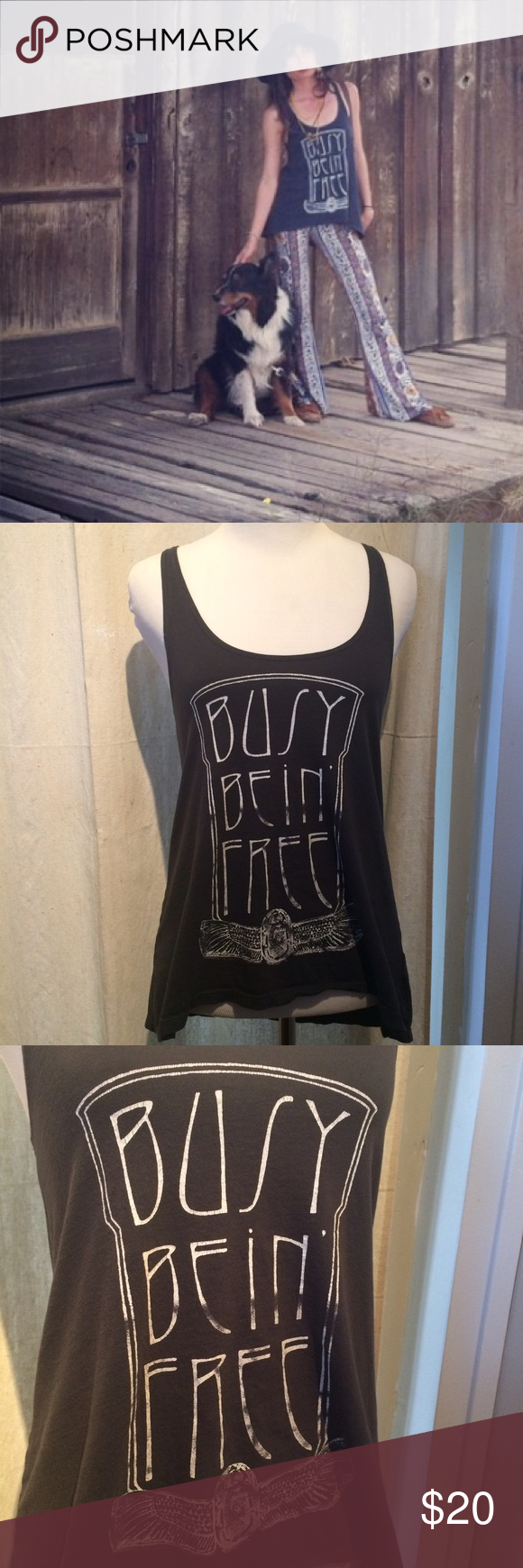 ✌🏼️ Busy Bein Free ✌🏼️ Idyllwild brand tank Super cute! 100% cotton, so soft! Brand is Idylwild, marked Bandit Brand (similar!) since Idylwild is a small brand. Bandit Brand Tops Tank Tops