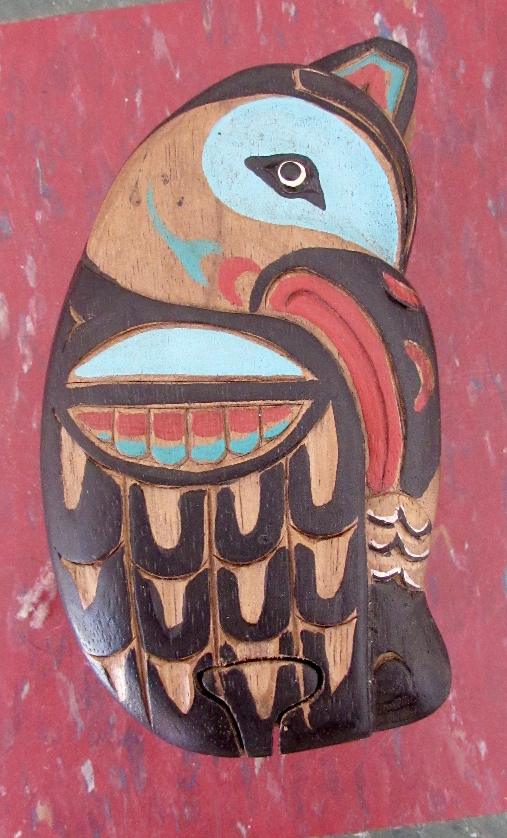 Carved and Painted Wooden Eagle Puzzle Box First Nations