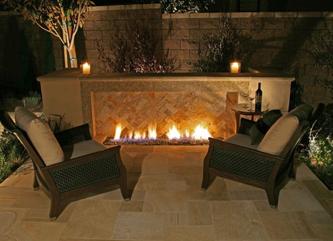 Outdoor Gas Fireplace W Herringbone Brick Outdoor Gas Fireplace