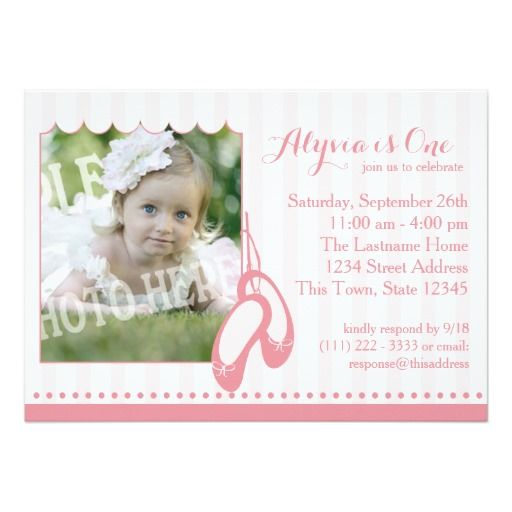 Ballerina Slippers First Birthday With Photo 5x7 Paper Invitation